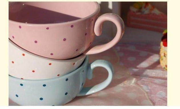 彩色波點陶瓷帶把小碗 小飯碗 杯碗 淺碗 造型碗 個性碗 家用碗3個組