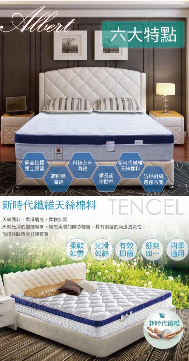 【Albert】艾柏 正三線天絲涼爽3D透氣RecoTex Cool5尺雙人環保獨立筒床墊(5x6.2尺)