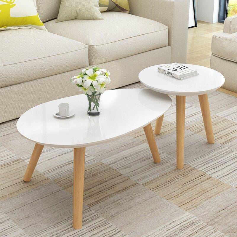 茶幾 北歐茶幾簡約小戶型高低組合客廳橢圓形茶桌咖啡桌圓形烤漆小茶幾