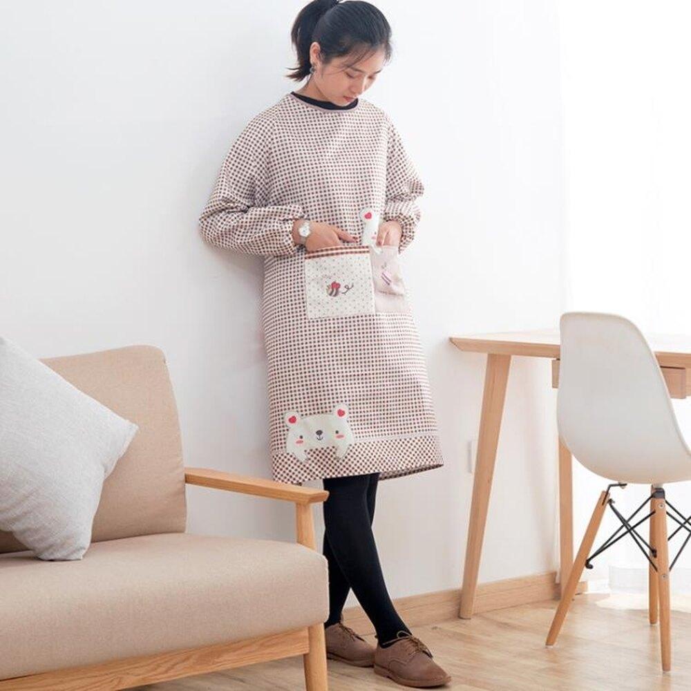 【買一送一】長袖圍裙全包廚房做飯女