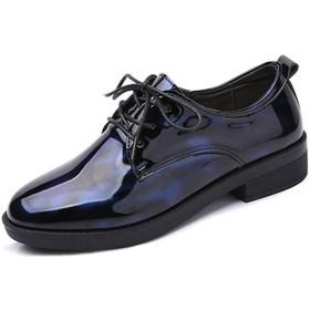 [ブウケ] レースアップシューズ パンプス 痛くない レディース 太めヒール ぺたんこ ラウンドトゥ 24.0cm ローヒール おじ靴 革靴 紐靴 滑りにくい 軽量 ブルー 防水 エナメル調 オックスフォードシューズ マニッシュシューズ ファッション