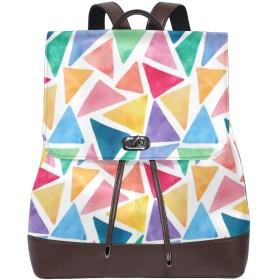 マザーズバッグ レザーバックパック リュック リュックサック バックパック ランドセル ハンドバッグ フルカラーな三角型 幾何 大容量 レザー 持ち運びに便利 耐摩耗性 学校 余暇 ビジネスバッグ 旅行 カジュアル