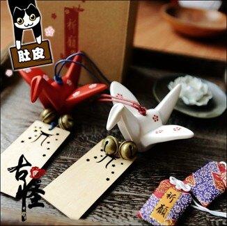 日式千紙鶴許願牌掛飾擺件小掛件和風陶瓷風鈴禮物  聖誕節禮物