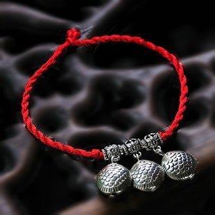 復古手工 飾品銀紅繩編織手鏈女款498