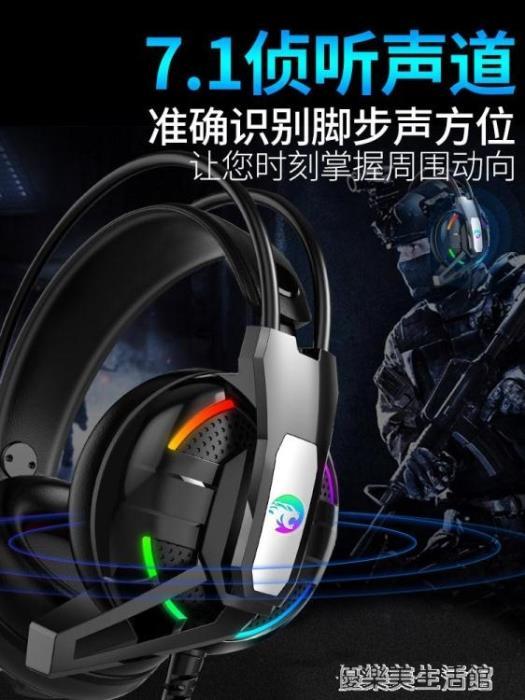 友柏A12電腦耳機頭戴式電競游戲吃雞耳麥有線重低音筆記本7.1聲道