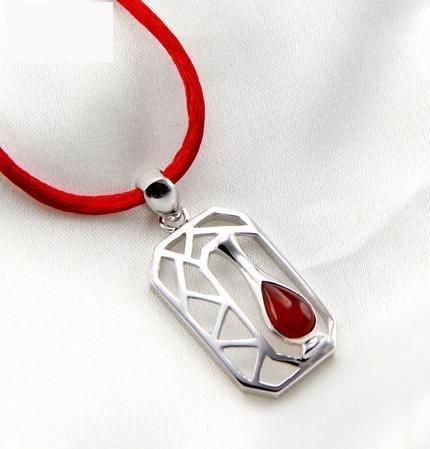 銀項鏈 看松吊墜 紅瑪瑙女複古毛衣鏈銀飾品禮品