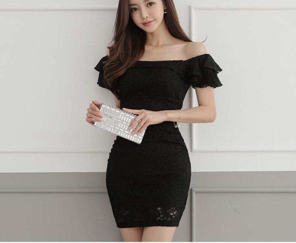 蕾絲連身裙夏季新款性感一字肩露背裝荷葉邊短袖顯瘦包臀裙 都市時尚