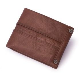 メンズバッグ フロントジッパーポケット付きRFIDスリム二つに折り畳める牛革ミニマメンズ財布 レザーバッグ (Color : Brown, Size : S)