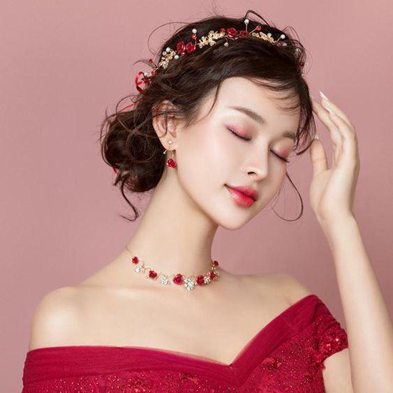 2019新品韓式新娘頭飾發帶禮服紅色三件套森系仙美結婚敬酒服發飾  極有家