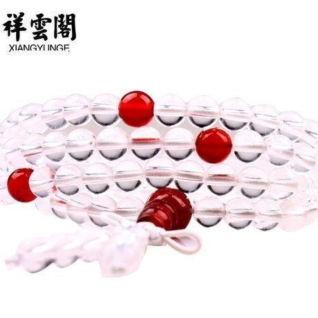開光頂級白水晶手鏈白水晶佛珠手鏈手串男女款精品