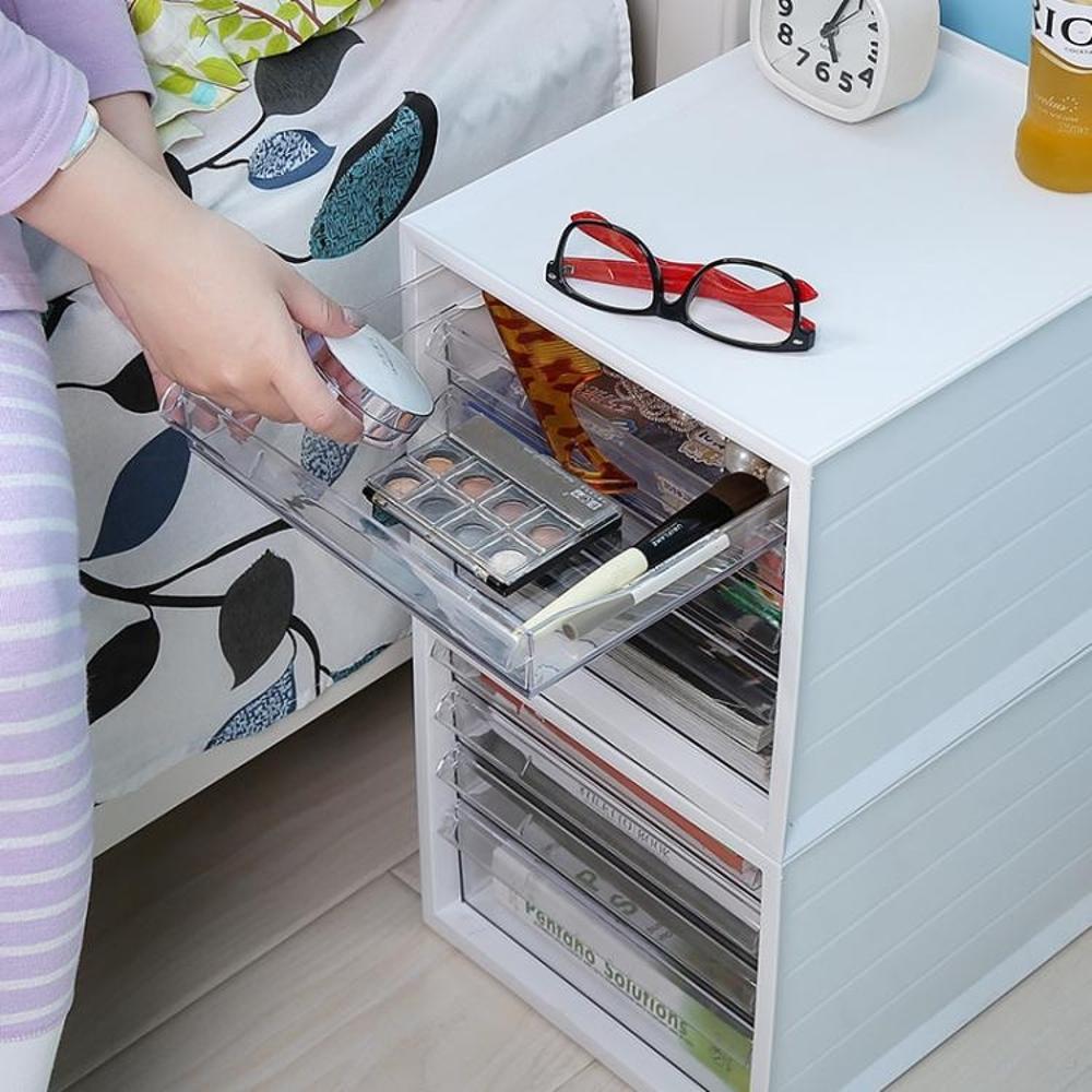 辦公室抽屜式桌面收納盒大號文件文具收納櫃塑料收納整理箱 好再來小屋SUPER 全館特惠9折