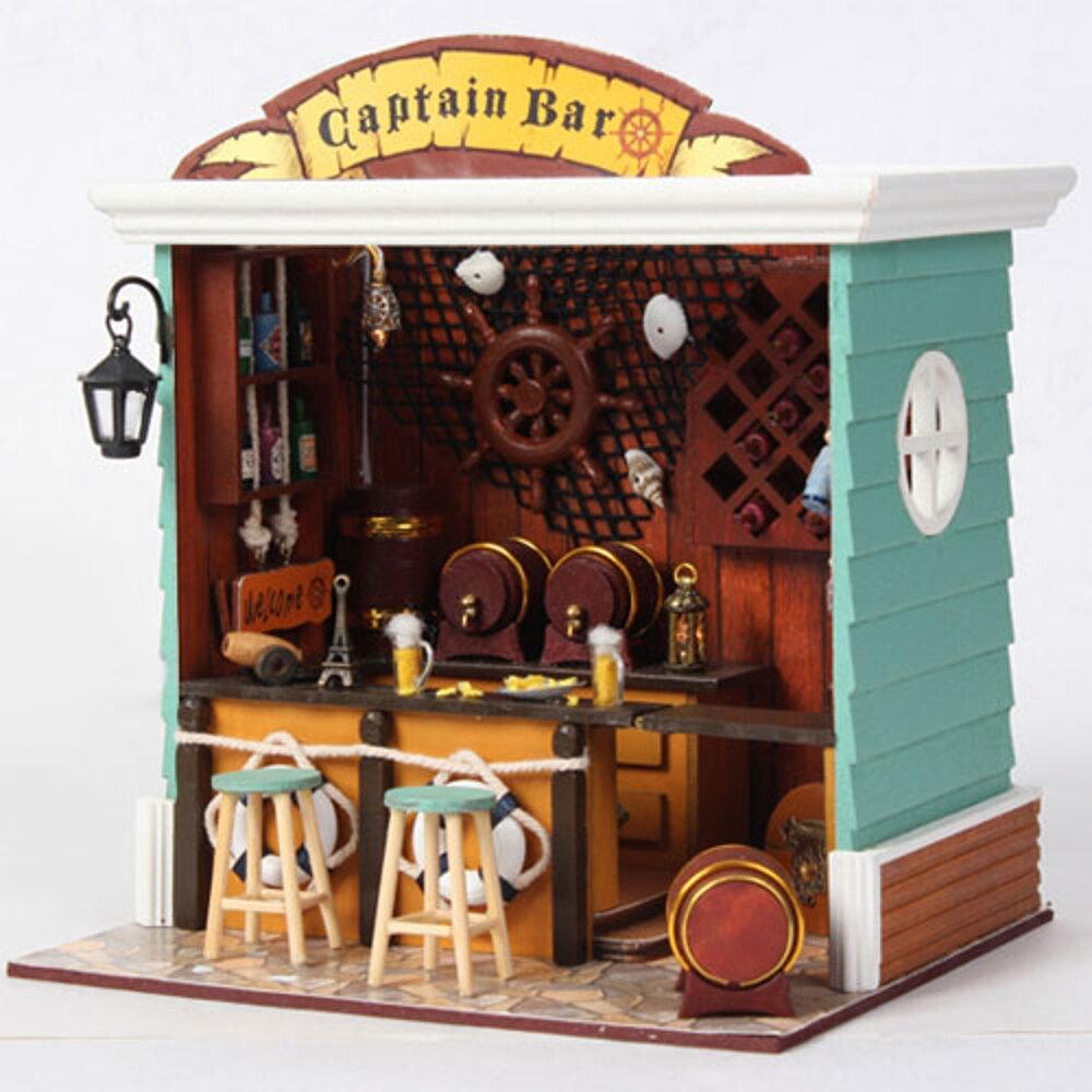【WT16120902】手製DIY小屋 手工拼裝房屋模型建築-船長酒吧