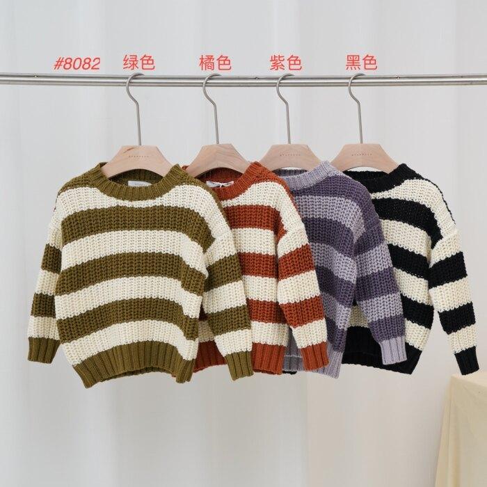 橫紋T恤-中童 綠色/橘色/紫色/黑色