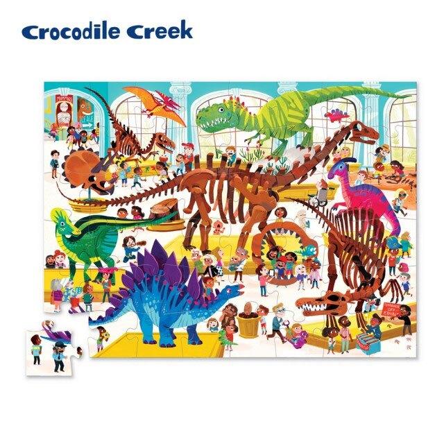 (4歲+) 美國 Crocodile Creek 博物館造型盒學習拼圖 - 恐龍館
