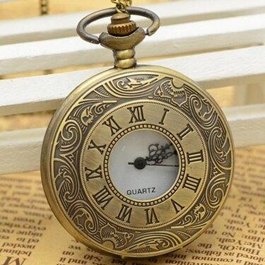 懷錶 潮流翻蓋鏤空雙顯羅馬石英懷錶男女學生經典復古項?手錶    全館八八折
