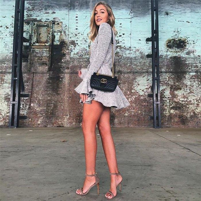新款時尚女裝 喇叭袖V領性感低胸束腰不規則下擺洋裝連身裙 D1732624