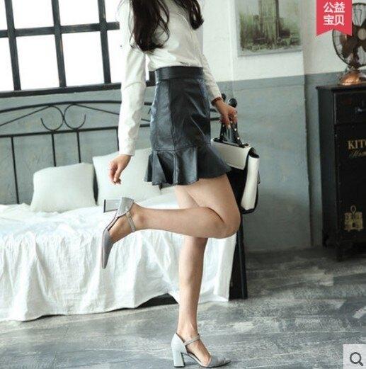 [協貿國際]春夏高腰荷葉邊皮短裙百搭魚尾裙半身裙