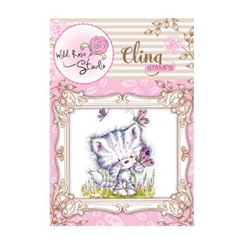 CS332橡膠章-愛莎貓與蝴蝶