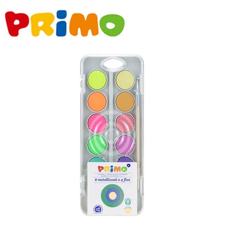 水彩 水彩餅 PRiMO 12色螢光固體水彩餅