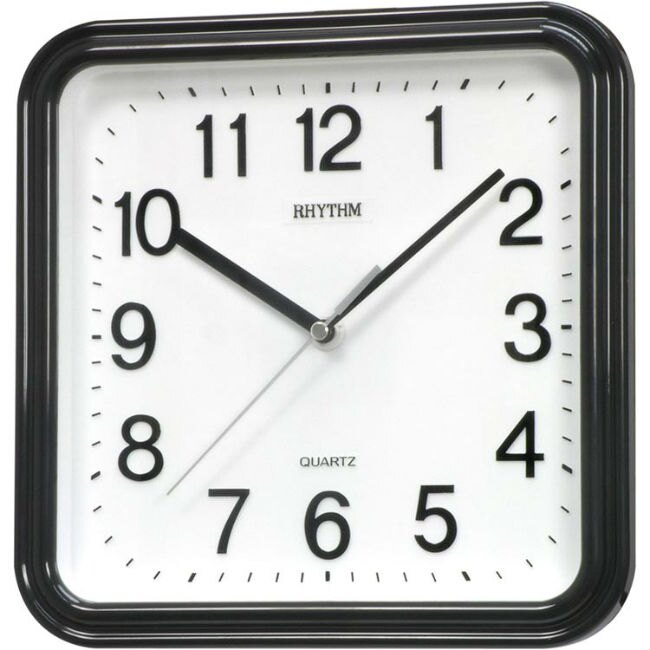 RHYTHM 麗聲鐘(CMG450) 極黑方形時尚掛鐘/25cm