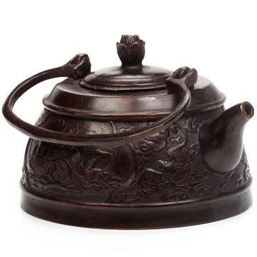 吉善緣 純銅茶壺擺件 古工藝品擺件家居擺設高檔禮品送領導0367