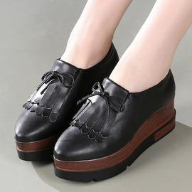 黑色34正品2016春季歐美真皮流蘇坡高跟單鞋尖頭臺女厚底拼色松糕鞋