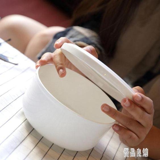 大號家用上班族泡面碗 陶瓷碗帶蓋 帶蓋碗飯盒微波爐碗骨瓷保鮮碗 zh3178