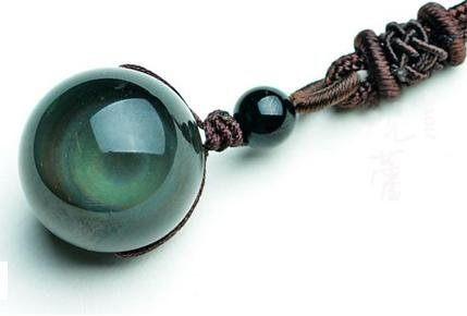 水晶開光黑曜石珠掛件男士吊墜球福 石來運轉