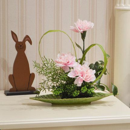 知根假花盆栽教師節禮物康乃馨仿真花套裝假花裝飾花客廳(圖一)