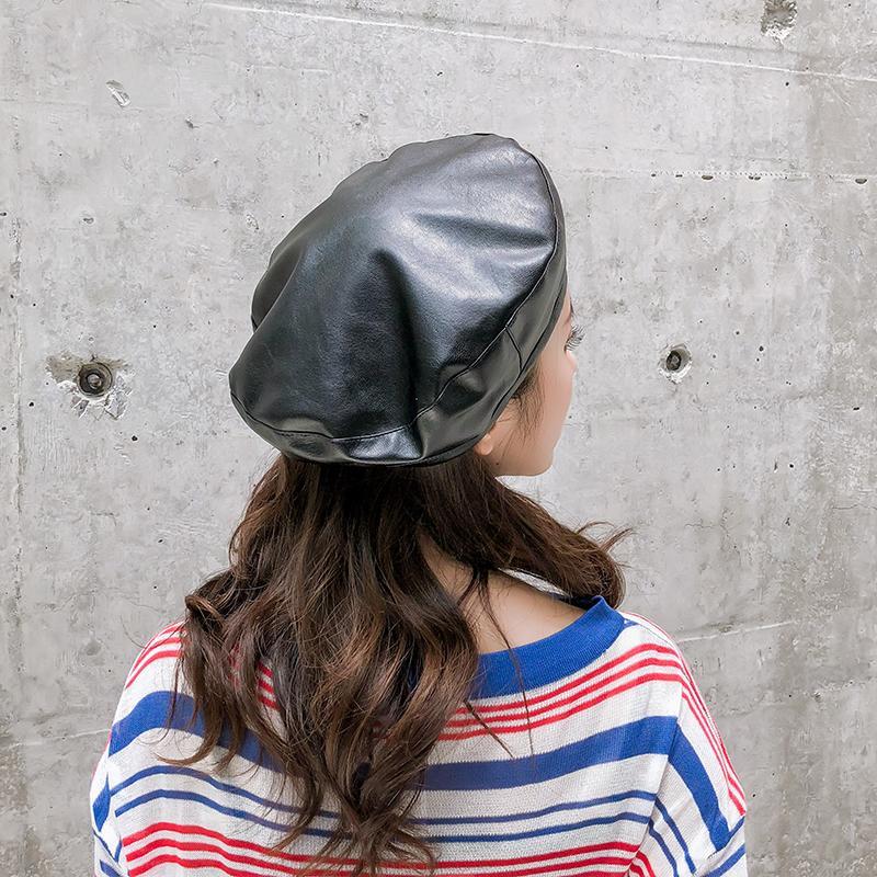 貝雷帽女秋冬薄款韓版簡約純色百搭畫家帽個性復古英倫風蓓蕾帽子1入