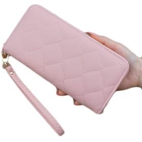 さんの財布ファスナー財布シンプルなソフト財布クラッチLinggeユキヤナギ,ピンク