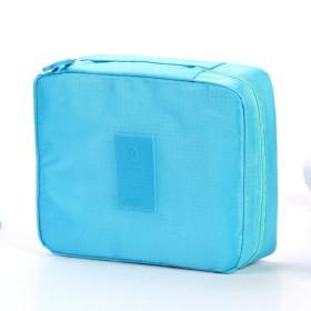 女性化粧品バッグ化粧バッグケースが主催トイレタリーストレージNeceserはリップスティックナイロンジッパー新しい旅行ウォッシュポーチを急いでメイクアップ,青