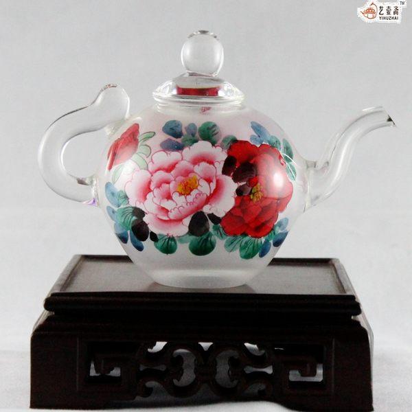藝壺齋中國  內畫牡丹圖鼻煙茶壺