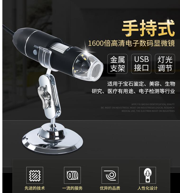 【現貨-免運費!台灣寄出】USB電子顯微鏡 可連續變焦1600倍 支援電腦/OTG手機 可測量拍照 放大鏡 3C樂享聖誕節禮物