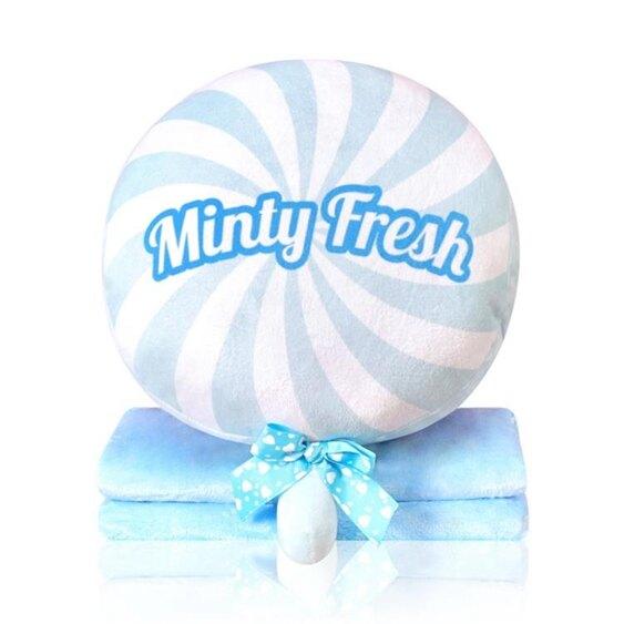 枕頭 棒棒糖午睡枕頭汽車抱枕被子兩用珊瑚絨腰靠枕靠墊空調被毯子  聖誕節禮物