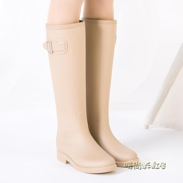 SLASHMODA簡約時尚雨鞋女成人韓國高筒水靴防滑女士水鞋膠鞋雨靴《小蘿莉》