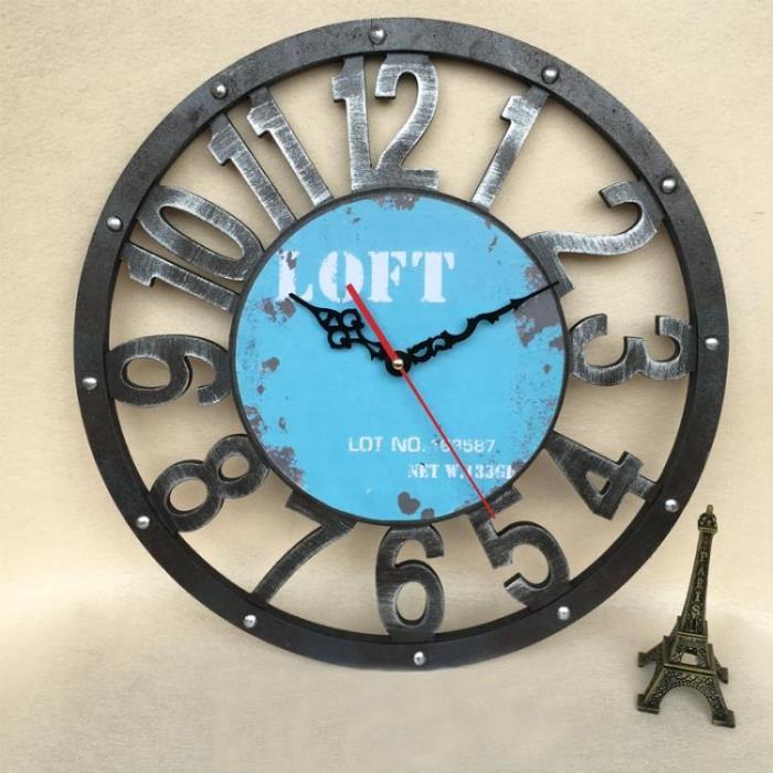掛鐘 復古新創意工業風LOET木質鐘表家用客廳裝飾酒吧發廊健身館大掛鐘