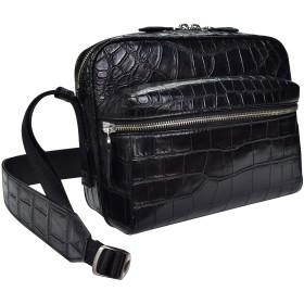 NUOHE クロコダイル カバン バッグ 本革 メンズ 男性用 ブラック ワニ革 マット仕上げ 上質レザー (黒)