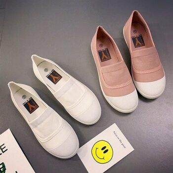 帆布鞋 2019春季新款小白韓版百搭一腳蹬學生平底老北京  聖誕節禮物