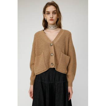 マウジー moussy CHANKY KNIT SHORT CARDIGAN (ベージュ)