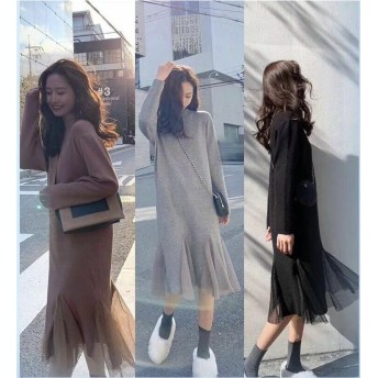 人に初恋の気持ちを与えるニット ワンビース 秋冬 新商品 甘いかわいい ニット ワンビース 女性服 レトロ シンプル ドレス 合わせやすい セーター