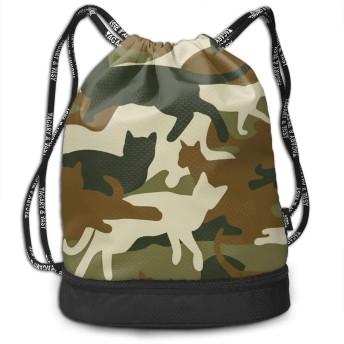 ナップサック 巾着袋 迷彩柄 猫 リュック バックパック 運動 ジムサック ジムバイク 引きひも袋 ダッフルバッグ 大容量 ファッション 防水 個性的 アウトドア 学校 旅行 プリントパック 軽量 男女兼用 収納ポーチ