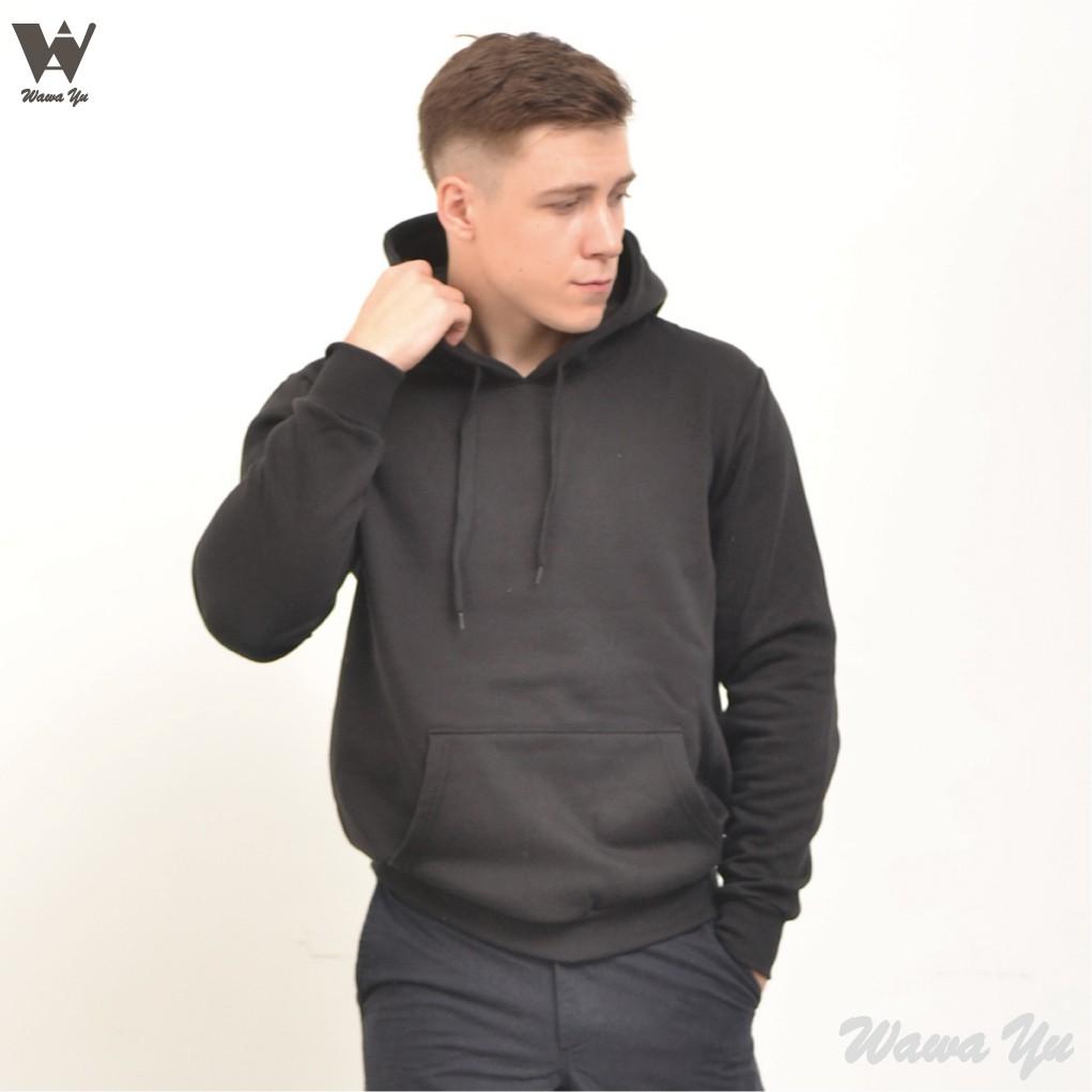 [新品]-帽T-不起毛-長袖厚棉刷毛口袋連帽上衣-黑色-男版 (尺碼S-2XL) [Wawa Yu品牌服飾]