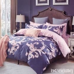 BEDDING-100%棉特大雙人6x7尺薄式床包-瑪雅之旅-藍