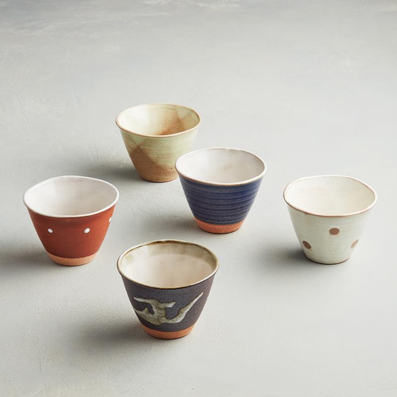 日本美濃燒 - 古窯釉彩陶杯組 (5件式)