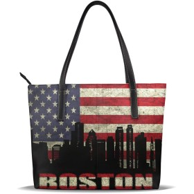 AYWOHF Boston Architecture ハンドバッグ レディース レディースハンドバッグ Puレザー 人気 ファッション 通勤 旅行に不可欠 斜め掛 手提げ 肩掛けハンドバッグ