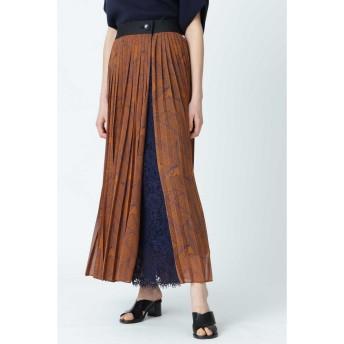 ADORE レイヤードプリントスカート ブルー 38