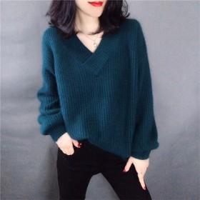 高レビュー多数 超特価中 初秋新作!セーター ゆったりする 大きいサイズ Vネック ボトミングシャツ セーター