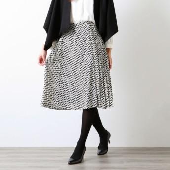 SALE【アマカ(AMACA)】 【XSサイズ〜】ブロックジオメトリックプリントスカート ブラック