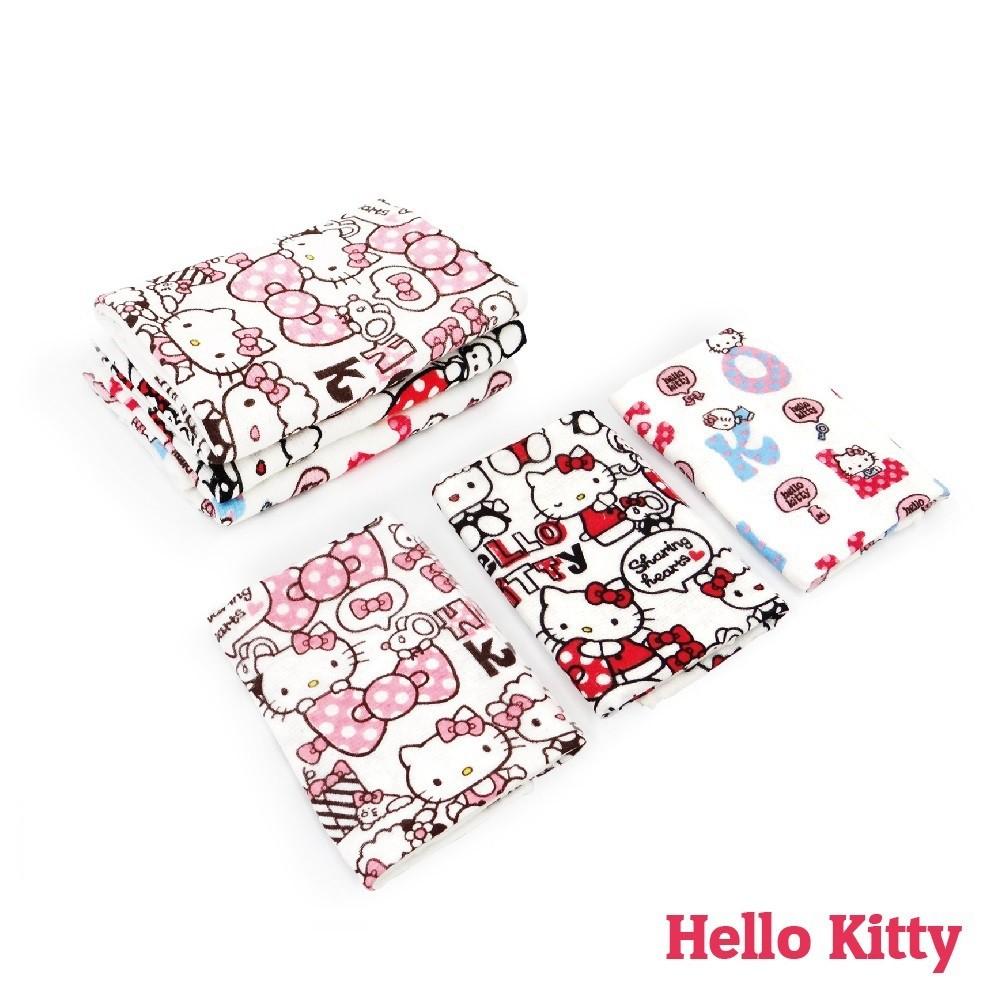 【Sanrio三麗鷗】凱蒂貓紗布毛巾-共3圖 100%棉 (輕薄款:旅遊、出差、朋友來訪、家庭最實用)